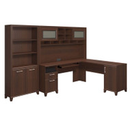 Bush Achieve L-Shaped Computer Desk with Hutch and Bookcase Package Sweet Cherry Finish - ACH005SC