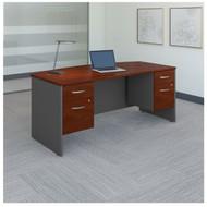 "BBF Bush Series C Package Bowfront Desk with Two 3/4-Pedestals 72""W x 36""D Hansen Cherry - SRC063HCSU"