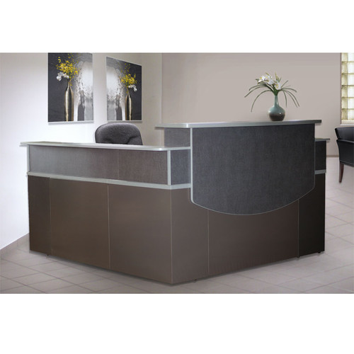 Receptionist Desk For Sale: Mayline CST27 CSII L-Shaped Reception Desk With Double