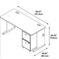 "BBF Bush Series A Desk with 2-drawer Mobile Pedestal Slate and White Spectrum 60""W -   SRA027SLSU"