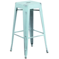 "Flash Furniture Distressed Green-Blue Metal Indoor-Outdoor Barstool 30""H - ET-BT3503-30-DB-GG"