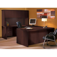 * MONTHLY SPECIAL! Mayline Aberdeen Executive U-Shaped Desk 72 w/Wood Door Hutch Package Mocha - AT4