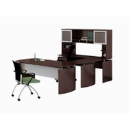"* MONTHLY SPECIAL! Mayline Medina Laminate Executive 63"" Desk U-Shaped Package Left Mocha - MNT33-LDC"