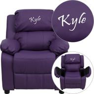 Flash Furniture Kid's Recliner with Storage Dreamweaver Embroiderable Purple Vinyl - BT-7985-KID-PUR-EMB-GG