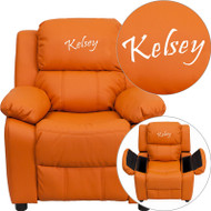 Flash Furniture Kid's Recliner with Storage Dreamweaver Embroiderable Orange Vinyl - BT-7985-KID-ORANGE-EMB-GG
