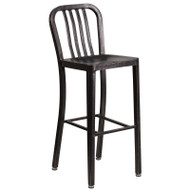 "Flash Furniture Black-Antique Gold Metal Indoor-Outdoor Barstool 30""H (2-Pack) - CH-61200-30-BQ-GG"