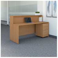 "BBF Bush Series C Reception Desk with 3-Drawer Mobile Pedestal Light Oak 72""W x 30""D - SRC096LOSU"