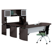 "* MONTHLY SPECIAL! Mayline Medina Laminate Executive 72"" Desk U-Shaped Package Right Mocha - MNT31-LDC"