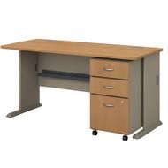 """BBF Bush Series A Desk with Mobile File Cabinet in Light Oak 60"""" - SRA003LOSU"""