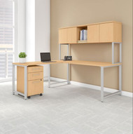 """BBF Bush 400 Series L-Shaped Table Desk and 3 Drawer Mobile Pedestal 72"""" x 30"""" Natural Maple -  400S181AC"""