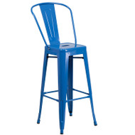 "Flash Furniture Blue Metal Indoor-Outdoor Bar Height Chair 30""H - CH-31320-30GB-BL-GG"