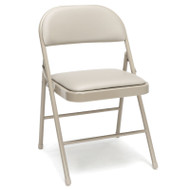 OFM Essentials Padded Metal Folding Chairs, Antique Linen (4-Pack) - ESS-8210-ALN