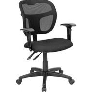 Flash Furniture Mid Back Mesh Task Chair with Black Fabric Seat and Arms - WL-A7671SYG-BK-A-GG