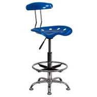 Flash Furniture Vibrant Bright Blue and Chrome Drafting / Bar Stool with Tractor Seat - LF-215-BRIGHTBLUE-GG