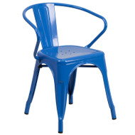 Flash Furniture Blue Metal Indoor-Outdoor Chair with Arms - CH-31270-BL-GG