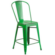 """Flash Furniture Distressed Green Metal Indoor-Outdoor Counter Height Chair 24""""H - ET-3534-24-GN-GG"""