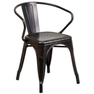 Flash Furniture Black-Antique Gold Metal Indoor-Outdoor Chair with Arms - CH-31270-BQ-GG
