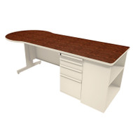 "Marvel Conference Desk with Bookcase 87"" Pumice - ZTCB8730UT"