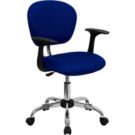 Flash Furniture Mid-Back Blue Mesh Task Chair with Arms and Chrome Base- H-2376-F-BLUE-ARMS-GG