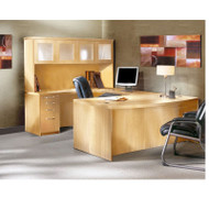 """* MONTHLY SPECIAL! Mayline Aberdeen Executive U-Shaped Desk 72"""" w/Glass Door Hutch Package Maple - AT5-LMA"""