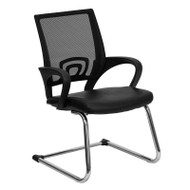 Flash Furniture Black Leather Office Side Chair with Black Mesh Back and Sled Base- CP-D119A01-BK-GG