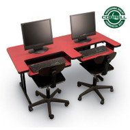 Correll High-Pressure Bi-level Computer Desk or Training Table with Two Keyboard Trays 30 x 60 - BL3060-2TRAYS