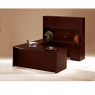 """* MONTHLY SPECIAL! Mayline Corsica Veneer Executive U-Shaped Bow Front Desk with Wood Doors Hutch 72"""" Mahogany - CT2"""