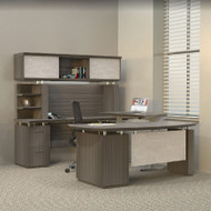 * MONTHLY SPECIAL! Mayline Sterling Executive U-Shaped Desk 72 with two Pedestals Textured Driftwood - STL40H3-TDW