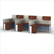 BBF Bush Office-in-an-Hour L-Shaped Desk Workstation 3-units - OIAH006HC