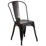 Flash Furniture Black-Antique Gold Metal Indoor-Outdoor Stackable Chair - CH-31230-BQ-GG