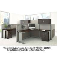 BBF Bush Office-in-an-Hour L-Shaped Desk Workstation 4-units - OIAH007MOC