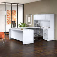 "Bush BBF Studio C Bow Front U-Shaped Desk with Hutch 72"" White - STC003WH"