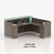 Mayline Medina Laminate Reception Desk with Return and Two Box/Box/File Pedestal Drawers Gray Steel - MNRSLBB-LGS