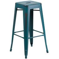 """Flash Furniture Distressed Kelly Blue-Teal Metal Indoor-Outdoor Barstool 30""""H - ET-BT3503-30-KB-GG"""