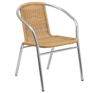 Flash Furniture Aluminum with Beige Rattan Indoor-Outdoor Restaurant Stack Chair - TLH-020-BGE-GG