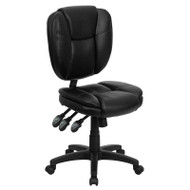 Flash Furniture Mid-Back Black Leather Multi-Functional Ergonomic Task Chair - GO-930F-BK-LEA-GG