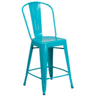 "Flash Furniture Crystal Teal-Blue Metal Indoor-Outdoor Counter Height Chair 24""H - ET-3534-24-CB-GG"