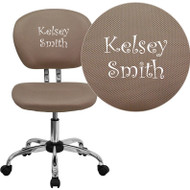 Flash Furniture Mid-Back Coffee Brown Mesh Task Chair with Chrome Base and Includes Embroidery - H-2376-F-COF-EMB-GG