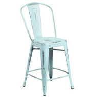 """Flash Furniture Distressed Green-Blue Metal Indoor-Outdoor Counter Height Chair 24""""H - ET-3534-24-DB-GG"""