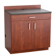 Safco Hospitality Base 2-Door Cabinet with Drawer, Mahogany / Rustic Slate - 1701MH