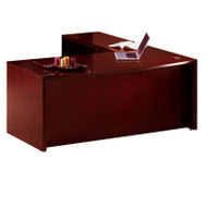 """* MONTHLY SPECIAL! Mayline Corsica Veneer Executive L-Shaped Bow Front Desk 72"""" Sierra Cherry - CT10-CRY"""