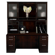 Mayline Sorrento Double Pedestal Credenza and Hutch Package Espresso - ST21