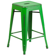 """Flash Furniture Distressed Green Metal Indoor-Outdoor Counter Height Stool 24""""H - ET-BT3503-24-GN-GG"""