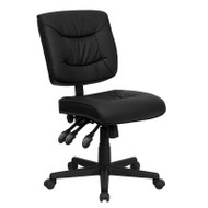 Flash Furniture Mid-Back Black Leather Multi-Functional Task Chair - GO-1574-BK-GG