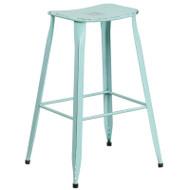 """Flash Furniture Distressed Green-Blue Metal Indoor-Outdoor Saddle Barstool 30""""H - ET-3604-30-DISBL-GG"""