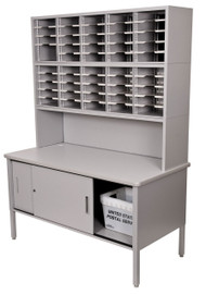 """Marvel 50 Adjustable Slot Literature Organizer with Riser and Cabinet Slate Gray 60""""W x 30""""D x 76-84""""H - UTIL0021"""