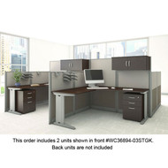 BBF Bush Office-in-an-Hour L-Shaped Desk Workstation 2-Units Mocha - OIAH008MOC