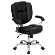 Flash Furniture Mid-Back Black Leather Task and Computer Chair - GO-930-BK-GG