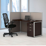 "BBF Bush Easy Office Straight Desk 60"" Open with Mobile File Cabinet - EOD160SMR-03K"