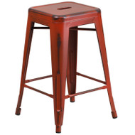 """Flash Furniture Distressed Kelly Red Metal Indoor-Outdoor Counter Height Stool 24""""H - ET-BT3503-24-RD-GG"""